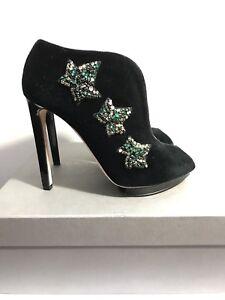 Alexander-McQueen-Black-Velvet-Sandal-Tessu-Size-38-5-New