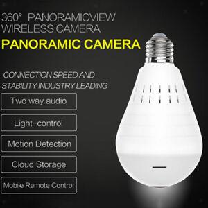 WiFi-Wireless-360-Fisheye-Lampadina-nascosta-Lampada-spia-Sicurezza-telecamera
