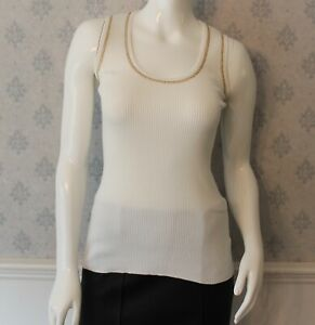 Celine-White-Ribbed-and-Copper-Trimmed-Cotton-Blend-Scoop-Neck-Tank-Top-Size-M