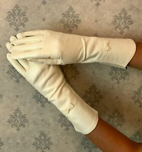 Vintage-White-Kid-Leather-Lanolau-Washable-Women-039-s-Mid-Length-Bow-Gloves