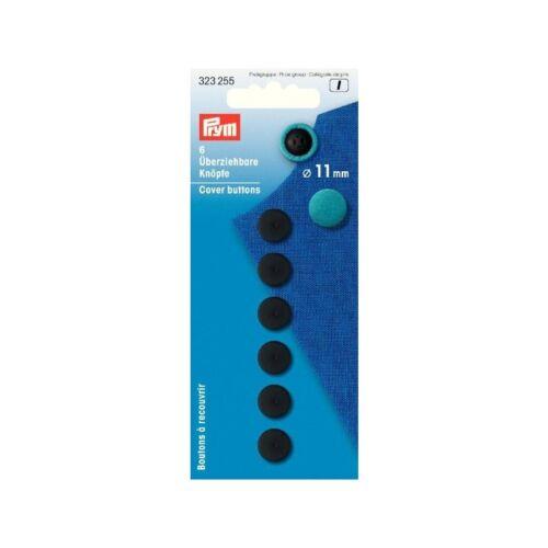11mm negro botón plástico 323255 Prym überziehbare botones 6 unidades
