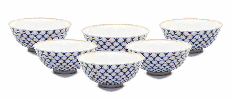 SET of 6 Lomonosov Porcelain Piala 4  Tea Cup Set, Russian Cobalt bleu Net