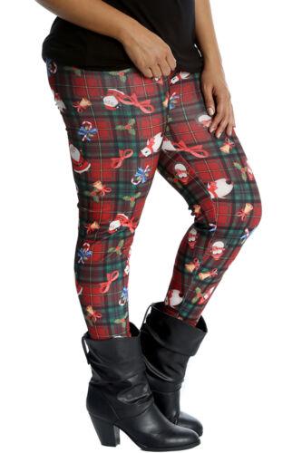 New Womens Plus Size Leggings Ladies Santa Polar Bear Penguin Christmas Print