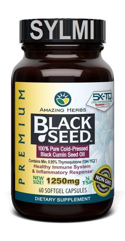 Amazing Herbs Black Cumin Seed Pure Cold Press Oil 1250mg 60 XL Softgel Capsules