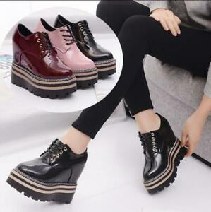 womens round toe wedge heels platform brogue lace up