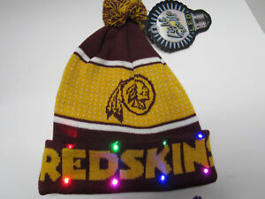 bf74bde0521 Washington Redskins NAME NFL LED Light Up Hat Winter Pom Beanie Knit ...