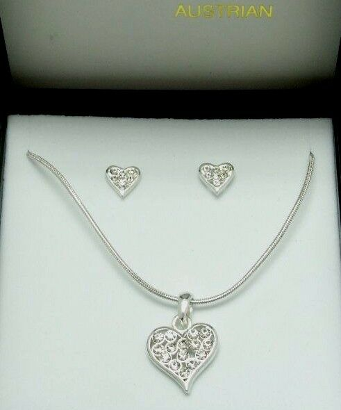 Angled Crystal Heart Silver Necklace and Earrings Set