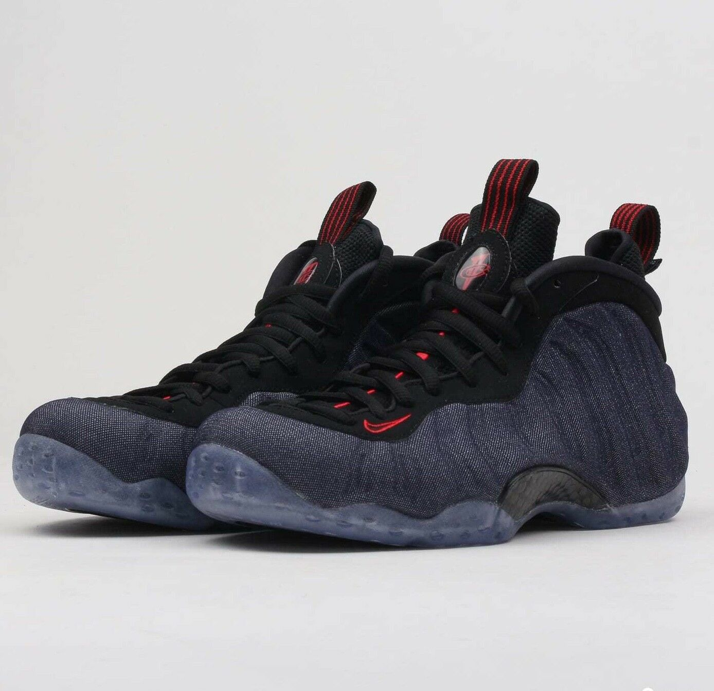 Nike Air Foamposite One Denim 314996-404 Obsidian Black Red Mens Basketball shoes