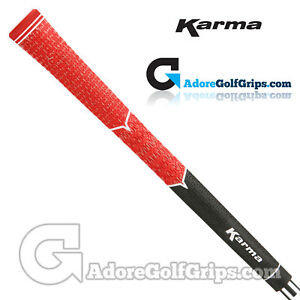 Karma-V-Cord-Multicompound-Standard-Size-Golf-Grips-Red-Black-x-3