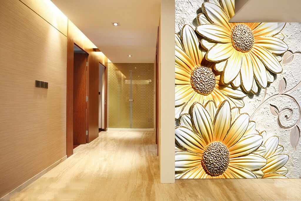 3D Flowers Embossed Pattern Paper Wall Print Wall Decal Wall Deco Indoor Murals