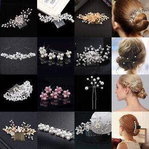 c7380190cae0 Flower Wedding Hair Pins Comb Bridal Clips Gold Crystal Pearl Hair ...