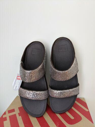 Fitflop Womens Lulu Superglitz Slide Sandal Shoes Size 10 NIB