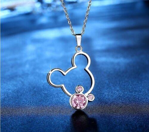 Disney Strass Schmuckset Halskette Ohrringe Mickey Mouse Silber rosa Strass