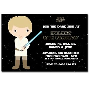 Details About Star Wars Themed Birthday Invitation