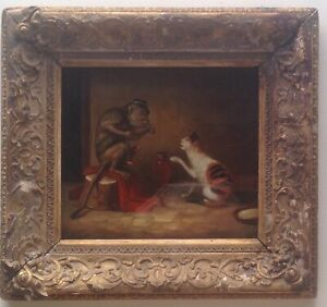 Antique-Oil-Painting-19th-century-Monkey-and-Cat-in-an-interior-English-school