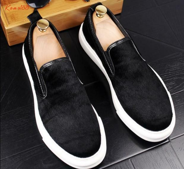 Fashion Mens real leather slip on casual loafers party Dress shoes 3 color