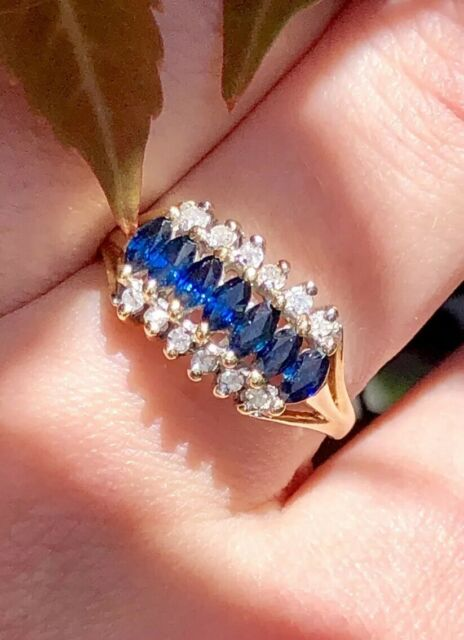 Estate 14k Yellow Gold Marquise Sapphire And Diamonds Cocktail Ring Signed C.J.C