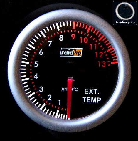 """Abgastemperaturanzeige 2/"""" RAID Nightflight Auspufftemperatur Instrument Ext.temp"""