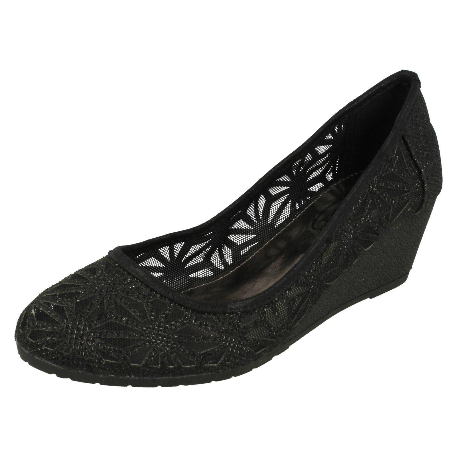 Spot On Glitter F9874 Ladies Black Synthetic Glitter On Effect Ballerina Court Shoes ddea2f