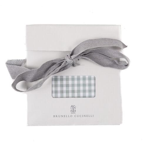 NWT $155 BRUNELLO CUCINELLI Gingham Check Print Cotton Pocket Square