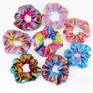 Set-of-8-Shiny-Metallic-Hair-Scrunchies-Ponytail-Holder-Elastic-Ties-Bands-Bs