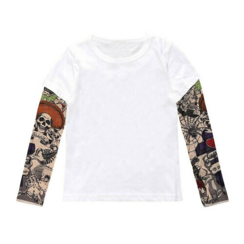 Toddler Baby Kids Boy Fall T-Shirt with Mesh Tattoo Print Long Sleeve Tee Tops L