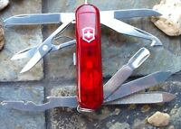 Victorinox Midnite Minichamp Ruby Original Swiss Army Knife Led 53977 Authentic