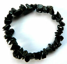**BEAUTIFUL BLACK TOURMALINE CRYSTAL CHIP BRACELET - HEALING / REIKI**