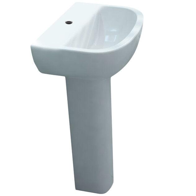 Salle de Bains & Vestiaire 460 mm lavabo plein piédestal D Compact avec-out robinet