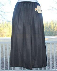 Nwt Vintage Vanity Fair Half Slip Black Nylon Waist Large 28-38 Waist