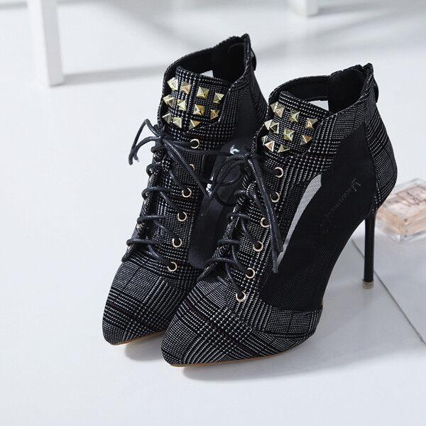 Stivali stivaletti stiletto 10 cm nero tronchetto eleganti simil pelle pelle pelle 1530 | Materiali Di Altissima Qualità  d44e7e