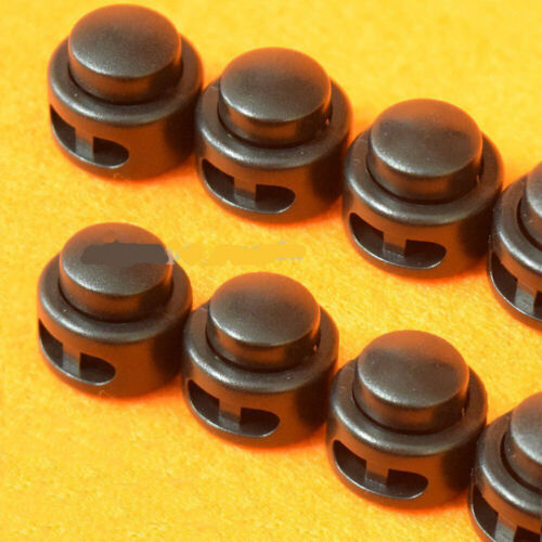 12PCS Black Paracord Cord Lock Clamp 2 Hole Toggle Clip Stopper Accessories L7