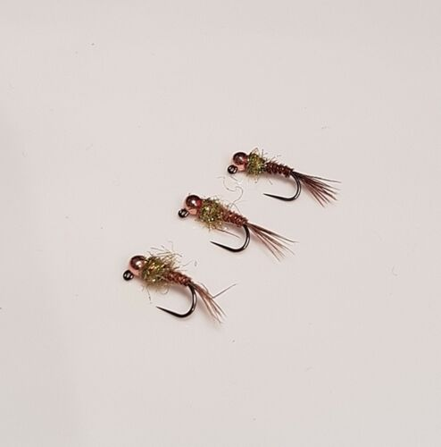 3 Tungsten Beaded Olive Flash Pheasant Tail Jig Hooked Nymphs
