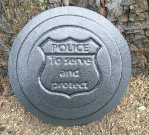"""Police concrete plaster mold  10/"""" stepping stone police plastic mold"""