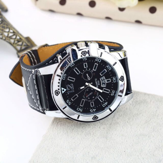 Large dial Watch Wide Band Men Black Wristwatch PU Leather Stainless Steel FE