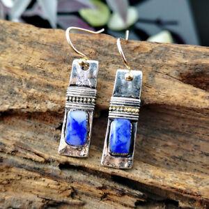 Vintage-925-Silver-Handmade-Natural-Stone-Rectangle-Earrings-Women-Ear-Stud-Hook