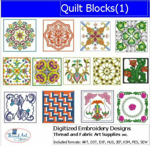 1 Quilt Blocks Embroidery Design Set - 13 Designs 9 Formats USB Stick