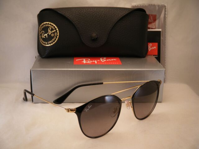 5d8760c892bd8 Ray-Ban Rb3546 187 71 Gold Black Frame Crystal Grey Shaded Lens Sunglasses  49