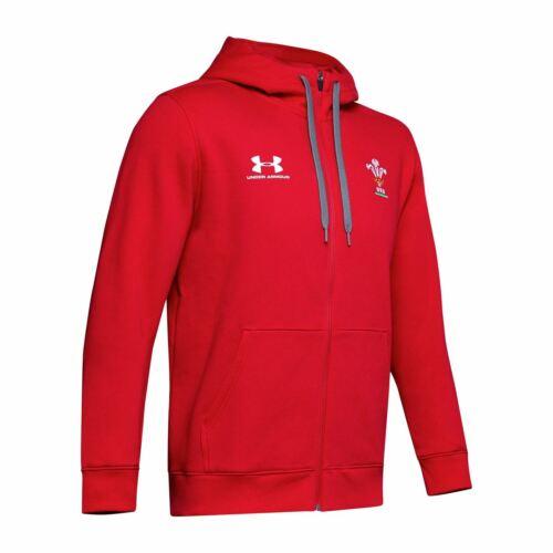 Under Armour Mens Wales Rugby Rival Hoody Long Sleeve Zip Hoodie Top 2019 2020