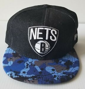 bc28357a6 New Era Brooklyn Nets Black   Blue 59Fifty Flat Bill 5950 Cap NBA ...