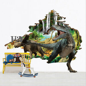 D Jurassic Dinosaur Wall Sticker Wallpaper Kids Bedroom Decal - 3d dinosaur wall decals