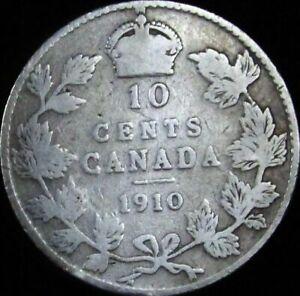 1910-Canada-Silver-10-Cents-KM-10-VG-Good-JG