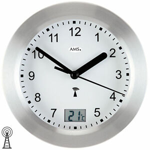 Details zu NEU AMS Wanduhr Funkuhr Funk digital Datum Thermometer  wasserdicht Baduhr Bad
