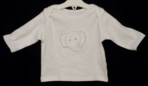 NEW M/&S Baby Boys Girls White Elephant Soft Feel Long Sleeve Top Age Newborn 3-6