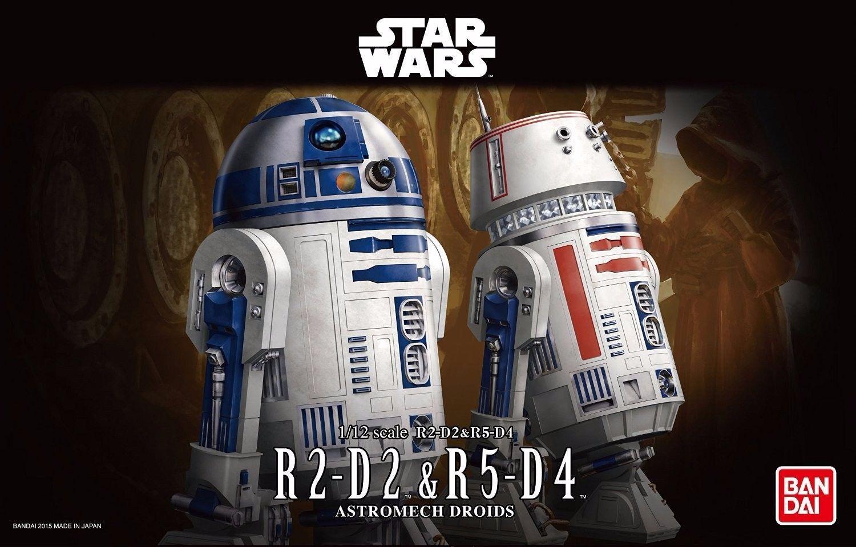 New Bandai Star Wars 1 12 Scale R2-D2 & R5-D4 Plastic Model Kit Free Postage F S