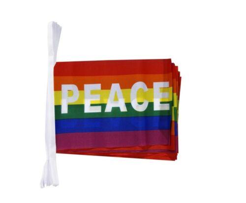 Bandiere Catena Bandiere Catena Ghirlanda Arcobaleno con Peace bandiere bandiere 15x22cm