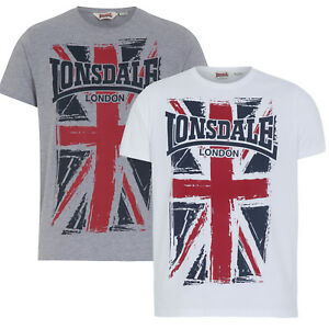 Lonsdale-T-Shirt-SOUTHAMPTON-Boxing-Large-Union-Jack-Logo-Grey-White-Regular-Fit