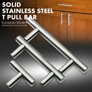 "2"" - 18"" Solid Stainless Steel Kitchen Cabinet Drawer Door Handles T Pull Bars"