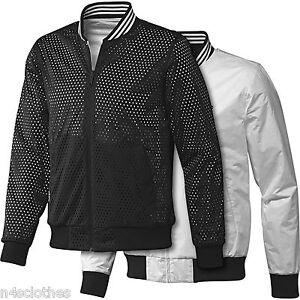cc7c72459 Details about Adidas Mens Reversible Bomber Jacket Black White Size XS S M  L XL