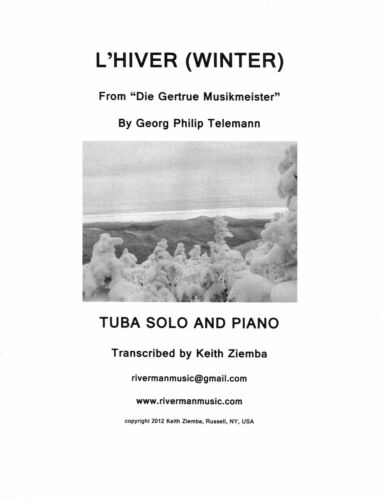 Winter Tuba Solo L/'Hiver by Telemann trans Tuba /& piano Opt embellished Lvl 2
